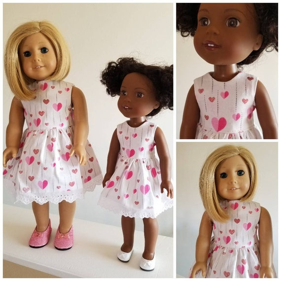 Pink Hearts Dress American Girl Wellie  Wisher Handmade