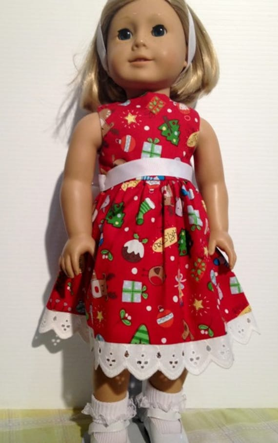 Red Christmas Dress and Headband for your 18 Inch Doll