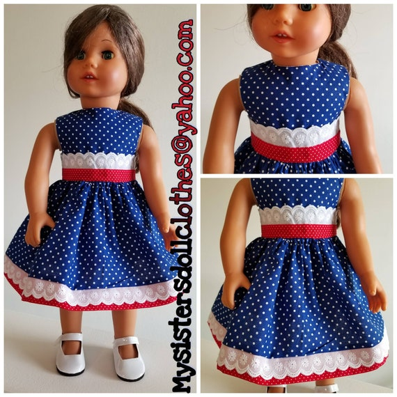 Clean Navy Blue Polka Dot with Red and White Eyelet Lace American Made for the 18 Inch or 14 Inch Doll.