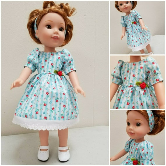 Red Roses and Stripe Dress and Headband  for Wellie Wishers Dolls and Disney Toddler Dolls