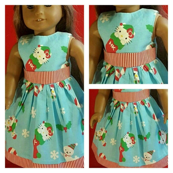 Hello Kitty Christmas American Handmade Dress 18 and 14 Inch Doll