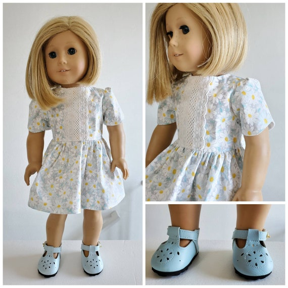 White Daisy Flowers Bloom in this Dress American Made 18 Inch Doll Clothes