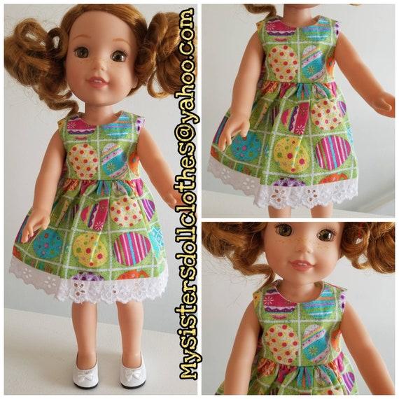 Glitter Easter Eggs Dress for 14.5 Doll Dress Wellie Wisher or 18 inch American Girl