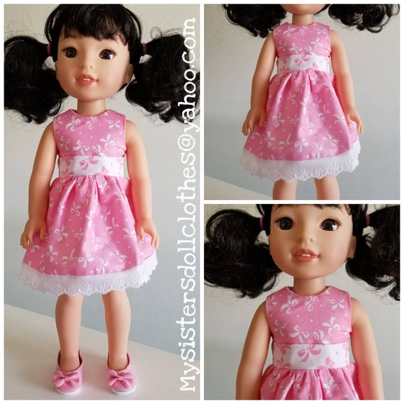 Shoes and white Bows and Pink Dress for 14.5 Inch Doll Wellie Wisher