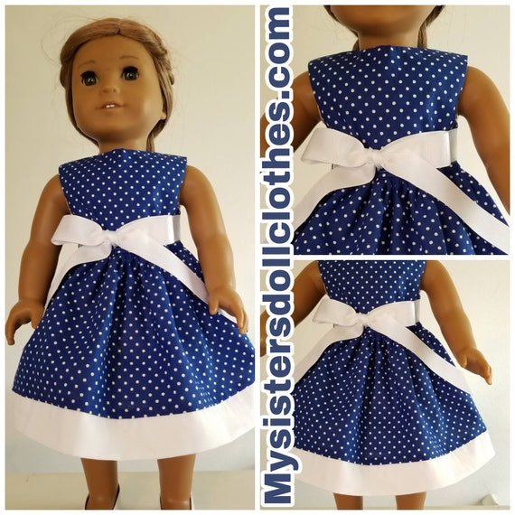 Navy Blue Polka Dot Dress  American Made 18 Inch Doll Clothes