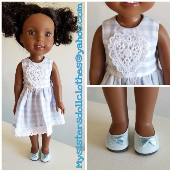 Dress and Shoes. Light Blue Gingham Print with Eyelet Lace Wellie Dress to fit Wellie Wisher Doll