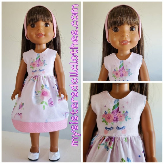 2 Sizes. Unicorn Dress and Headband to fit Wellie Wisher, American Girl and Disney Toddler Doll