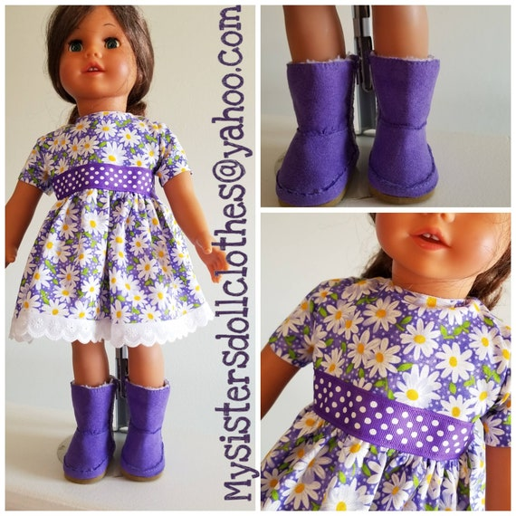 2 Piece Outfit. Purple Polka Dots and Daisies Dress  with Ugg Boots for American Made 18 Inch Doll Clothes