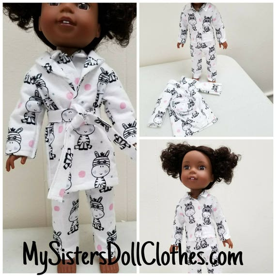 Pajamas and Robe for Willie Wisher 14.5 Inch Doll Zebra Flannel Fabric