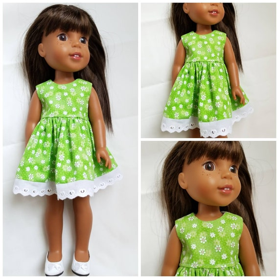 White Daisy Dress for 14.5 Inch Doll Wellie Wisher