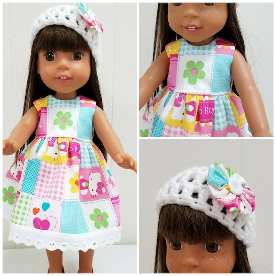 Hello Kitty Dress, Shoes and Crocheted Hat 14.5 Inch Doll