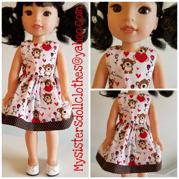 AG and WW Bear and Hearts Dress for Valentine's Day