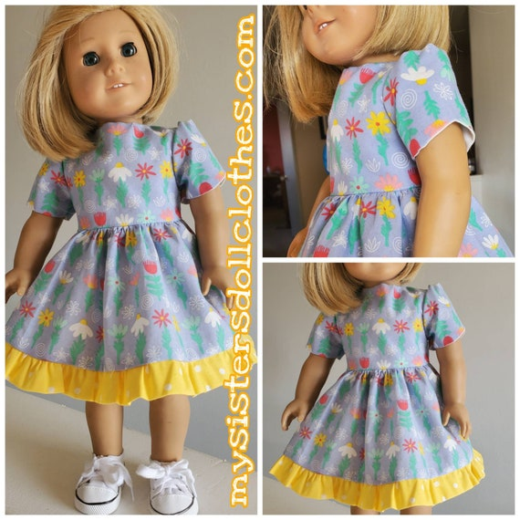 Flowers Growing! Scalloped sleeves and Yellow Polka Dot Ruffles! American Made for the 18 Inch or 14 Inch Doll.