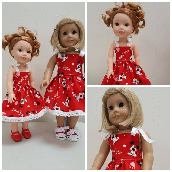 "I Woof You""  Willie Wisher Dress 14.5 Inch Doll or American girl doll"