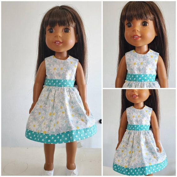 Spring Daisy Dress for the American Girl Doll or  Wellie  Wisher. Handmade