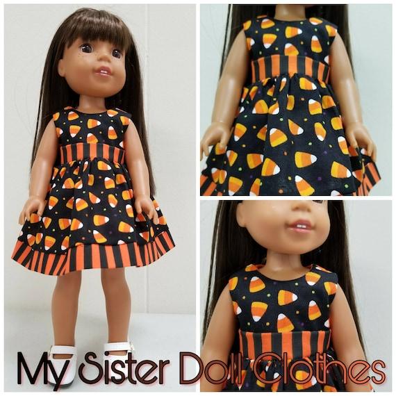 Halloween Candy Corn Dress for 14 Inch Dolls Wellie Wisher