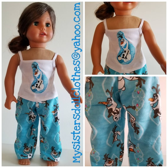 Olaf PJ's and Tank Top for the American Made 18 Inch Doll Clothes