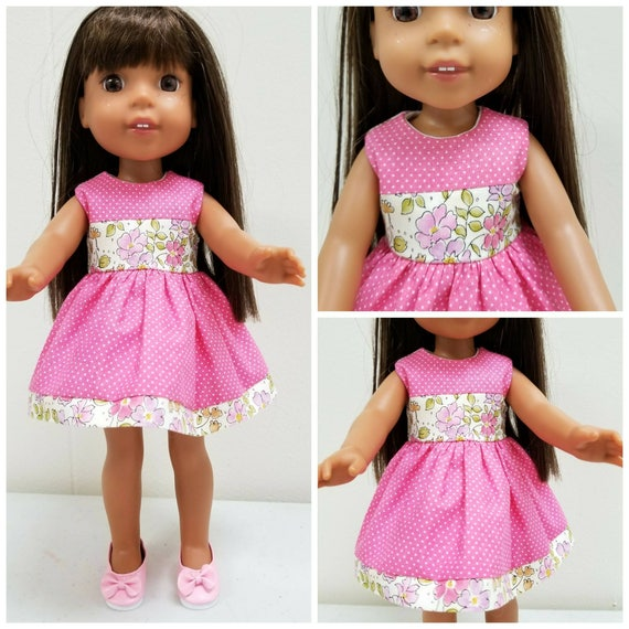 Pink Blocked Dress to fit Wellie Wisher Doll and Disney Toddler Dolls FREE Shoes with Dress