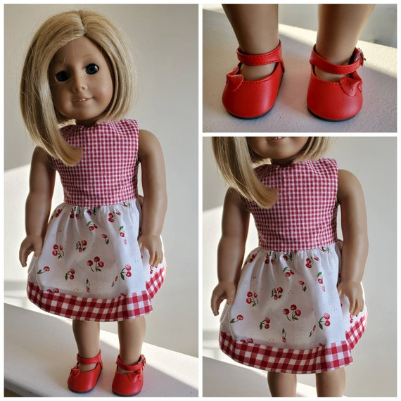 American Handmade Cherry Checked Dress and Shoes for  18 Inch Doll