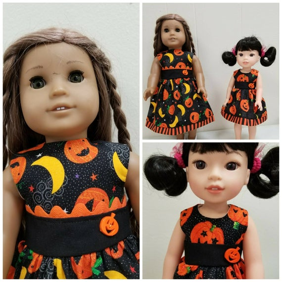 Pumpkin Halloween Dresses for Willie Wisher Dress 14.5 Inch Doll or American girl doll