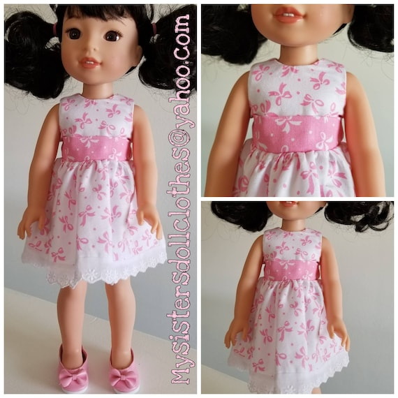 Shoes and Pink Bows and White Dress for 14.5 Inch Doll Wellie Wisher