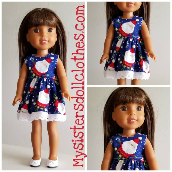 Christmas Santa Dress for 14 Dolls Wellie Wisher Doll or 18 inch AG.