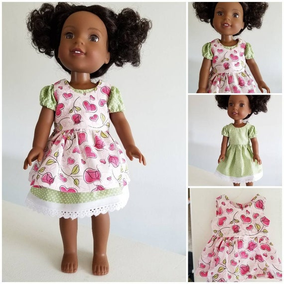 Green Polka Dot Dress withFlowered Pinafore Dress for 14.5 Inch Doll Wellie Wisher