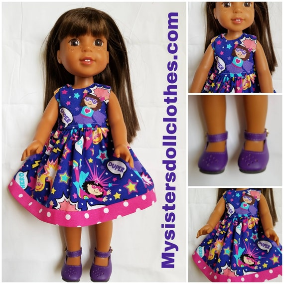 Willie Wisher Super Girl Doll Dress & Purple Shoes