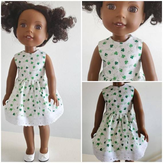St. Patty's Clover Irish Dress for Wellie Wishers Dolls