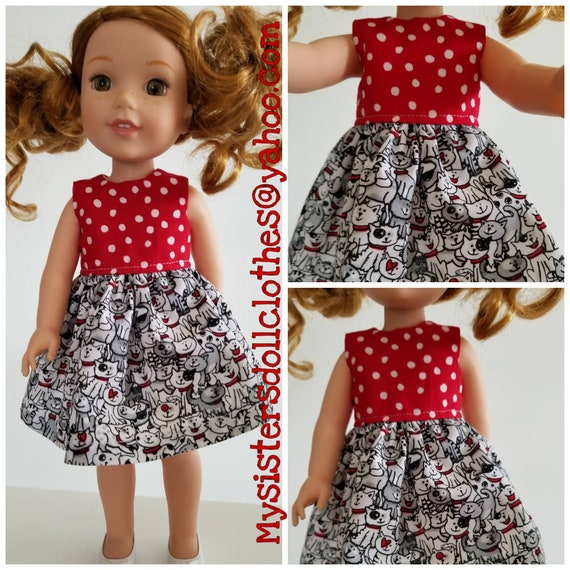 Cats With Red and White Polka Dot  Dress for Wellie Wishers Dolls