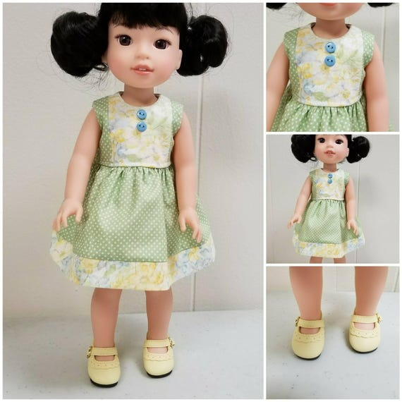 Wellie Wisher Polka Dots and Flowers Yellow and Green Dress