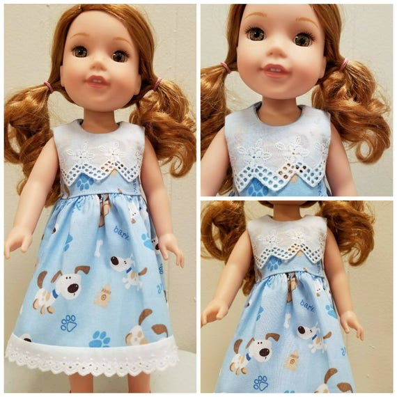Doggies and Lace Dress for Wellie  Wisher 14.5 Inch Doll