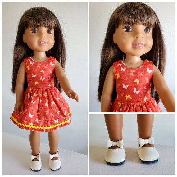 Flying Butterfly Dress and Beige Shoes for Wellie Wisher 14 Inch