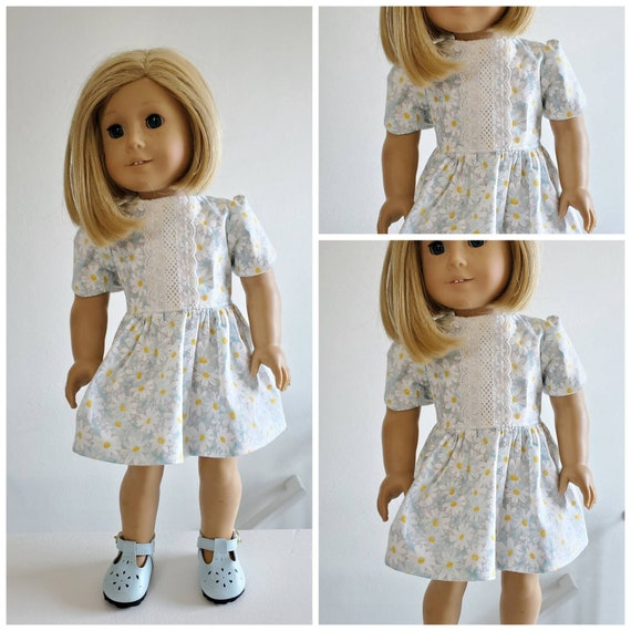 White Daisy Flowers Bloom in this Dress. Available in 4  Colors. American Made 18 Inch Doll Clothes