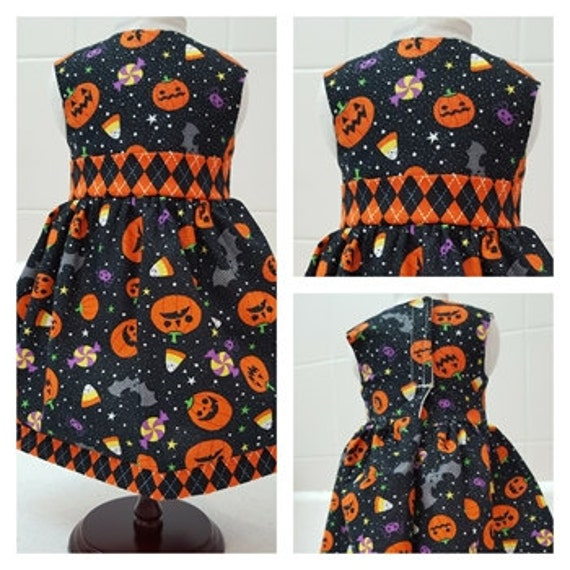 Pumpkins and Candy Corn Halloween Dress for your 18 Inch American Girl Doll