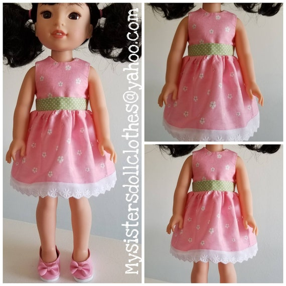 Shoes and Pink and White Flowers Dress for 14.5 Inch Doll Wellie Wisher