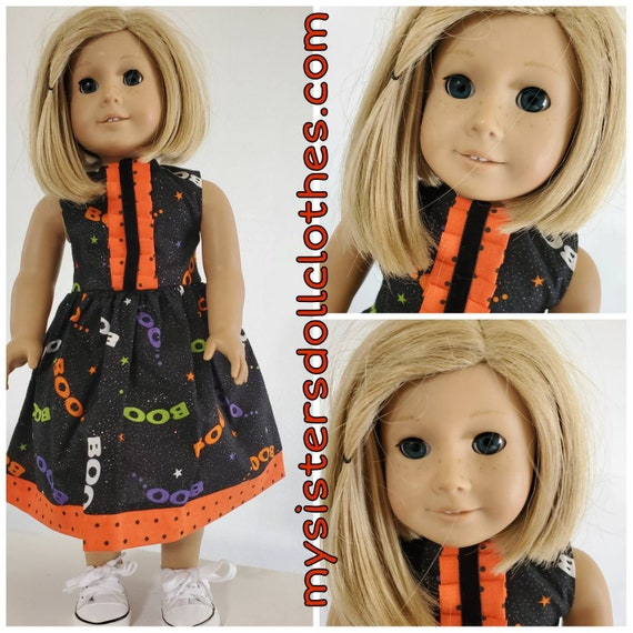 Boo Fabric with Orange Polka Dots Trim Halloween Dress for American girl doll