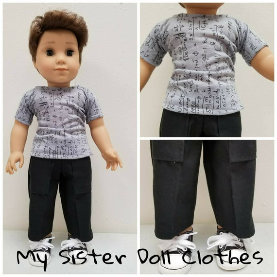 Cargo Pants,Tshirt & sneakers for Logan. 18 Inch Doll American Handmade