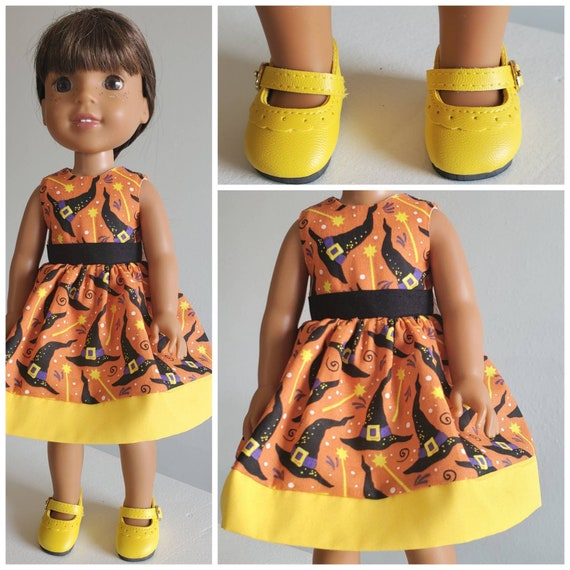 Yellow Halloween Witches Hat  Dress or Yellow Shoes for Wellie Wisher 14 Inch