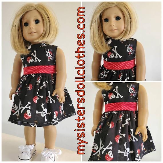 Scull and Cross Bones HalloweenDress!Halloween Dress for American girl doll