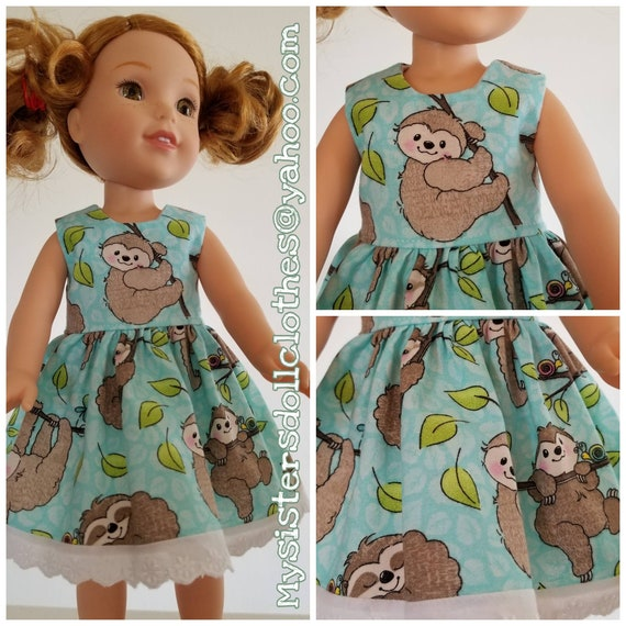 Sloth Dress  for 14.5 Inch Doll Wellie Wisher