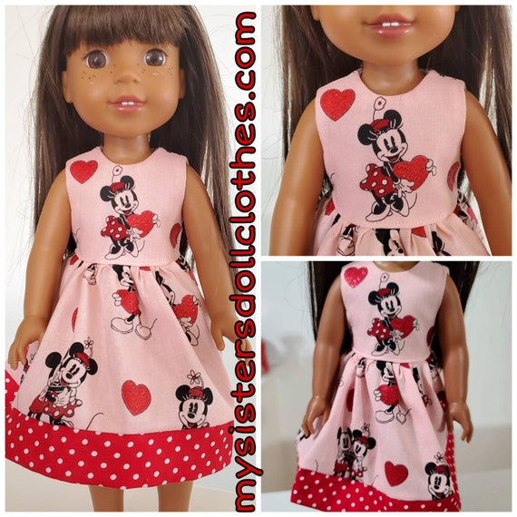 Minnie Mouse and Hearts Dress for the American Girl Doll or  Wellie  Wisher. Handmade