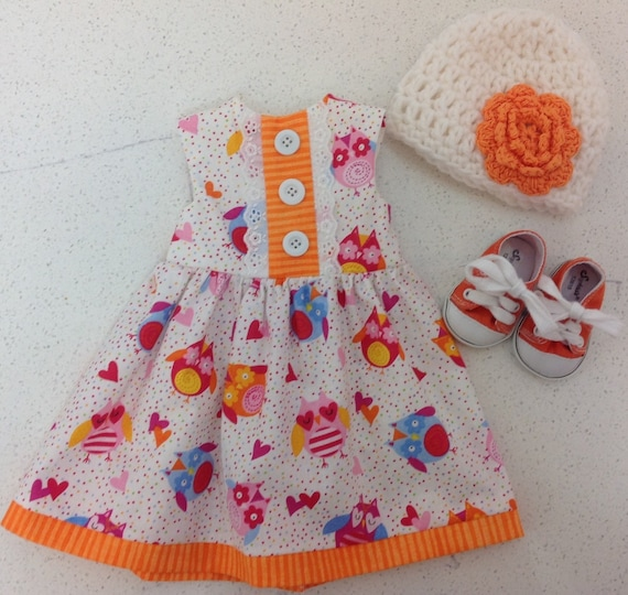 Owl Dress with Hand Crocheted Hat and Orange Tennies American Made 18 Inch Doll Clothes