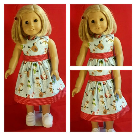 Christmas Dress with Reindeer and Snowmen American Handmade for 18 or 14 Inch Dolls