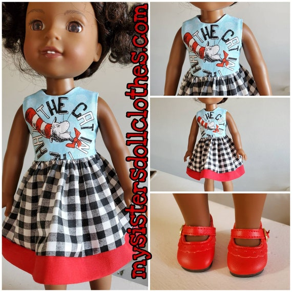 Cats in the Hat Dress With Black and White Check skirt. I have  sewn red fabric at the hem! for Wellie Wishers Dolls