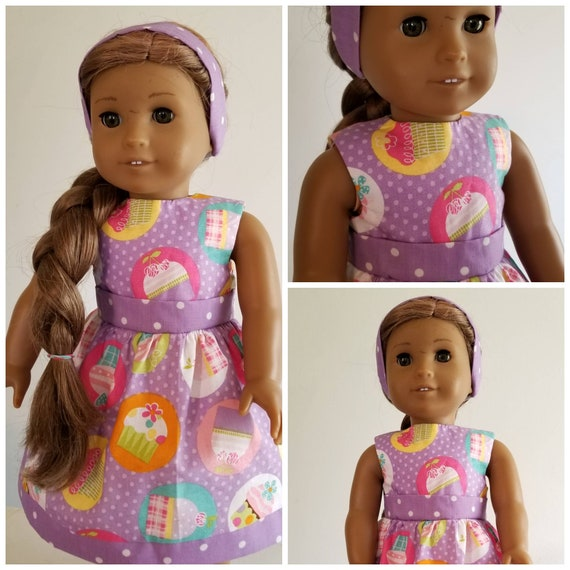 Cupcakes and Polka Dot Dress  American Made 18 Inch Doll Clothes