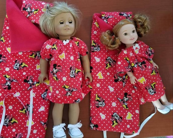 20.00- 3 Piece Sleeping Bag Set. Nightgown, Pillow  and Sleeping Bag. American Made for 18 or 14 Inch Doll.