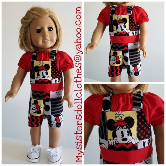 Mickey and Minnie Overalls and Blouse American Made 18 Inch Doll Clothes