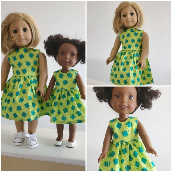 St. Patty Irish Clover Day Dress for your  AG and WW Dolls.