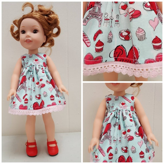 Paris and Hearts Dress for Willie Wisher 14.5 Inch Doll